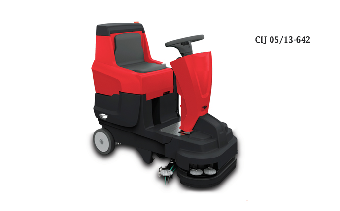 Compact ride-on scrubber drier