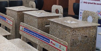 Classroom desks from recycled cartons
