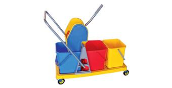 Three-bucket Mop Wringer Trolley