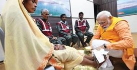 Prime Minister Modi washing the feet of Safai Karamacharies Apt Recognition to Sanitation Workers
